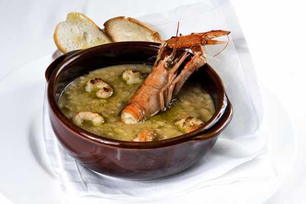 Spelt soup, shrimp and scampi - Boeucc Milan